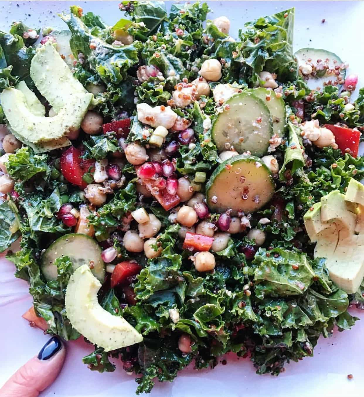 Signature healthy kale salad by Swoon Talent's food blogger Marla Meridith