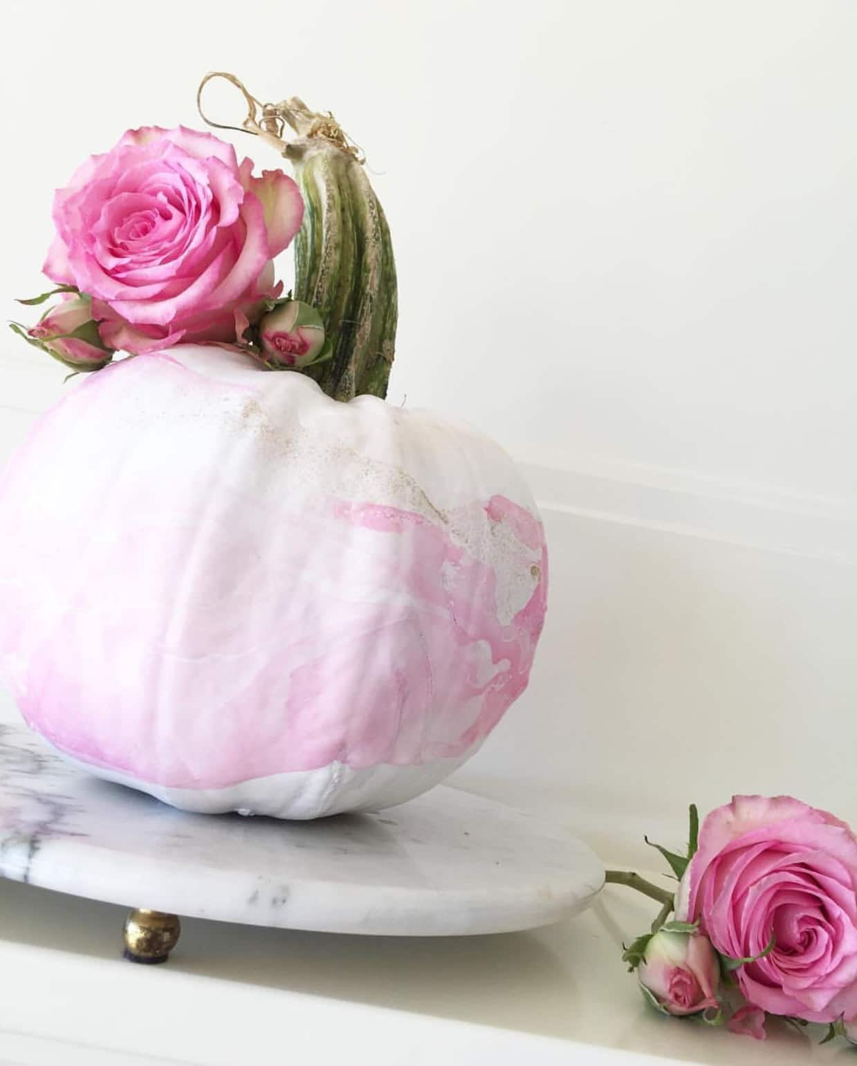 No carve white pumpkin painted pale pink & topped with a hot pink rose by Swoon Talent's DIY expert Monica Hart