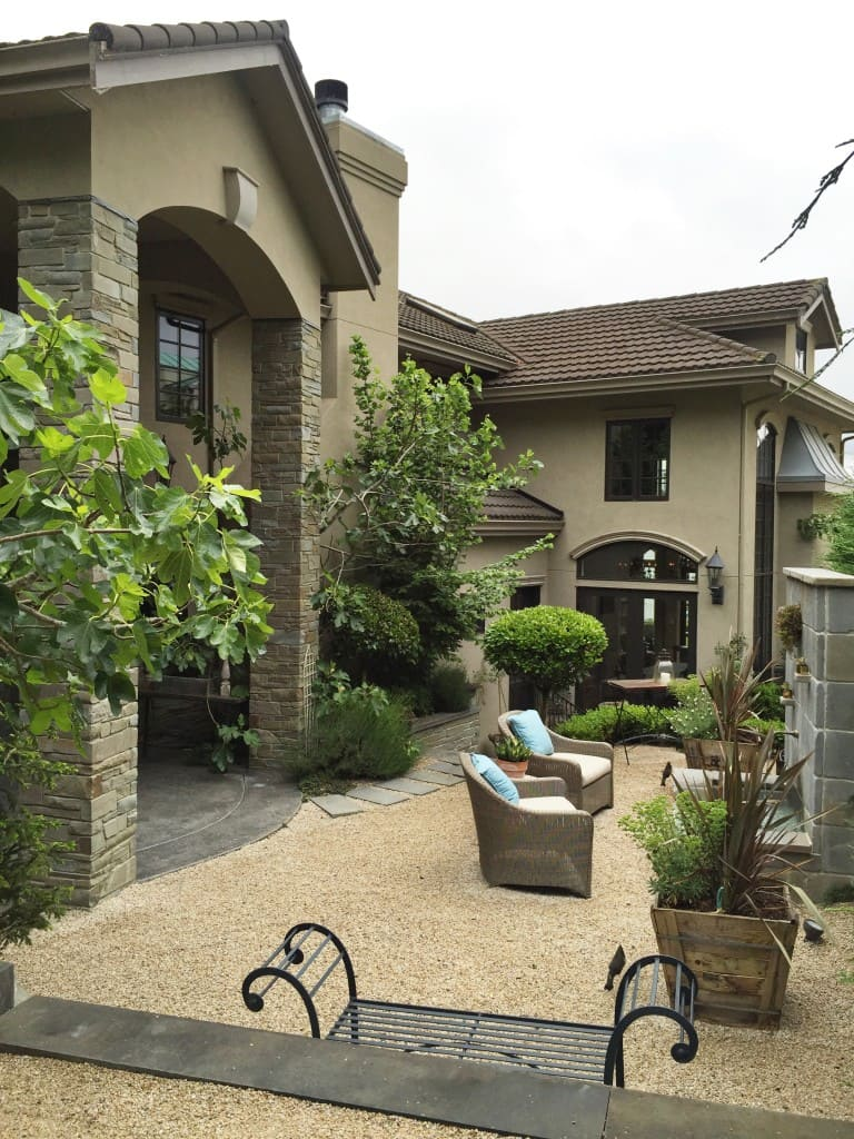 back yard patio of Monica Hart's dream home, designed herself