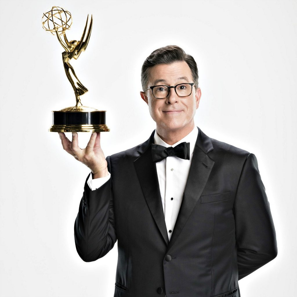 Swoon Talent Blog with Jodi Roth of CBS who oversees the Emmys. Steven Colbert Emmys 2017.