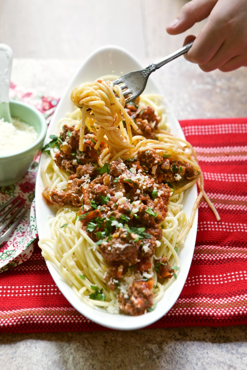 Swoon Talent - Telluride Food Blogger Marla Meridith's Elk Bolognese Sauce Over Linguini - High Alpine Cuisine Cookbook