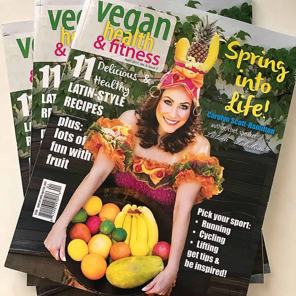Swoon Talent's Carolyn Scott-Hamilton, The Healthy Voyager-on the cover of Vegan & Fitness Magazine