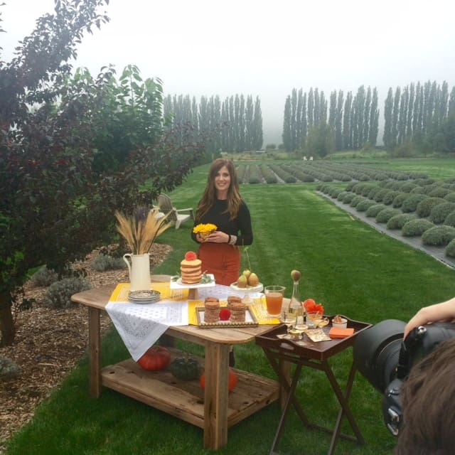 Swoon Talent's DIY & entertaining on-camera expert Monica Hart on a photo shoot for 425 Magazine