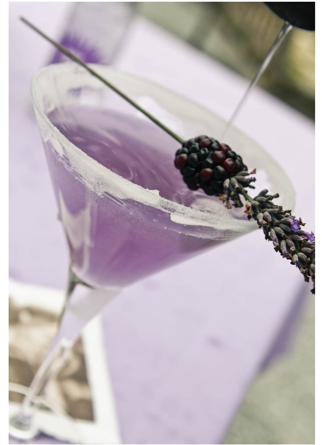 Lavender blackberry Martini Drop Cocktail by Swoon Talent's lifestyle expert Monica Hart