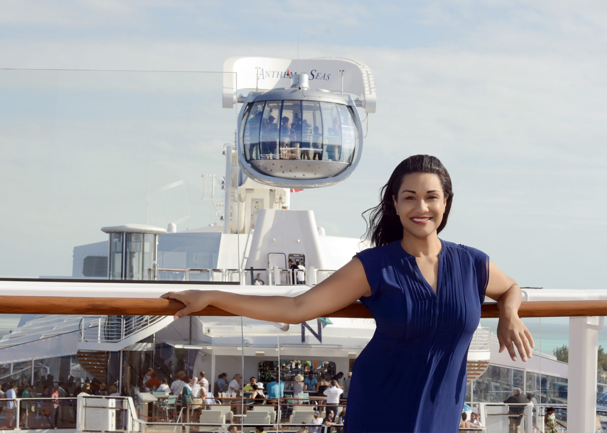 Swoon Talent - On-camera travel expert Sandra McLemore aboard a cruise ship