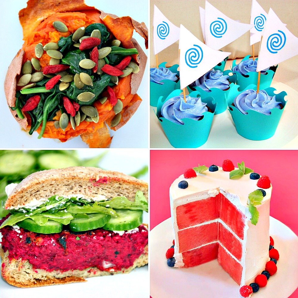 Vegan Home Cook Abby Phon's Recipes - baked sweet potato with coconut oil, spinach, pumpkin seeds & goji berries, cupcakes with natural blue frosting, beet burger & watermelon cake - Swoon Talent