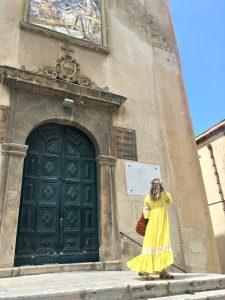 Alyson DiFranco in Sicily Wearing Vintage Dress