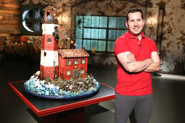 Pastry Chef Steve Konopelski of Turnbridge Point with his winning gingerbread house - Food Network - Haunted Halloween Showdown. Photo Courtesy Food Ntework