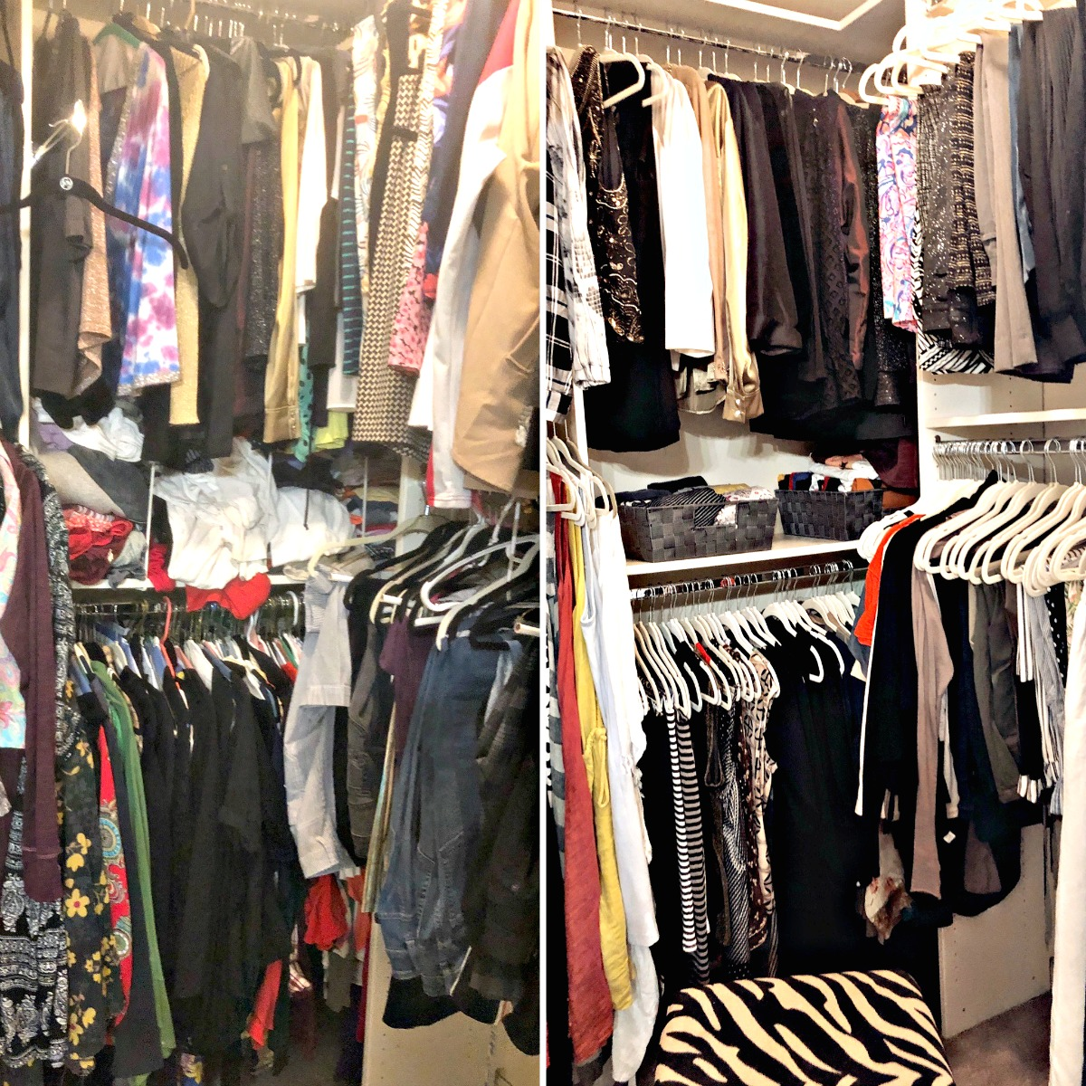 Before and After of a closet makeover