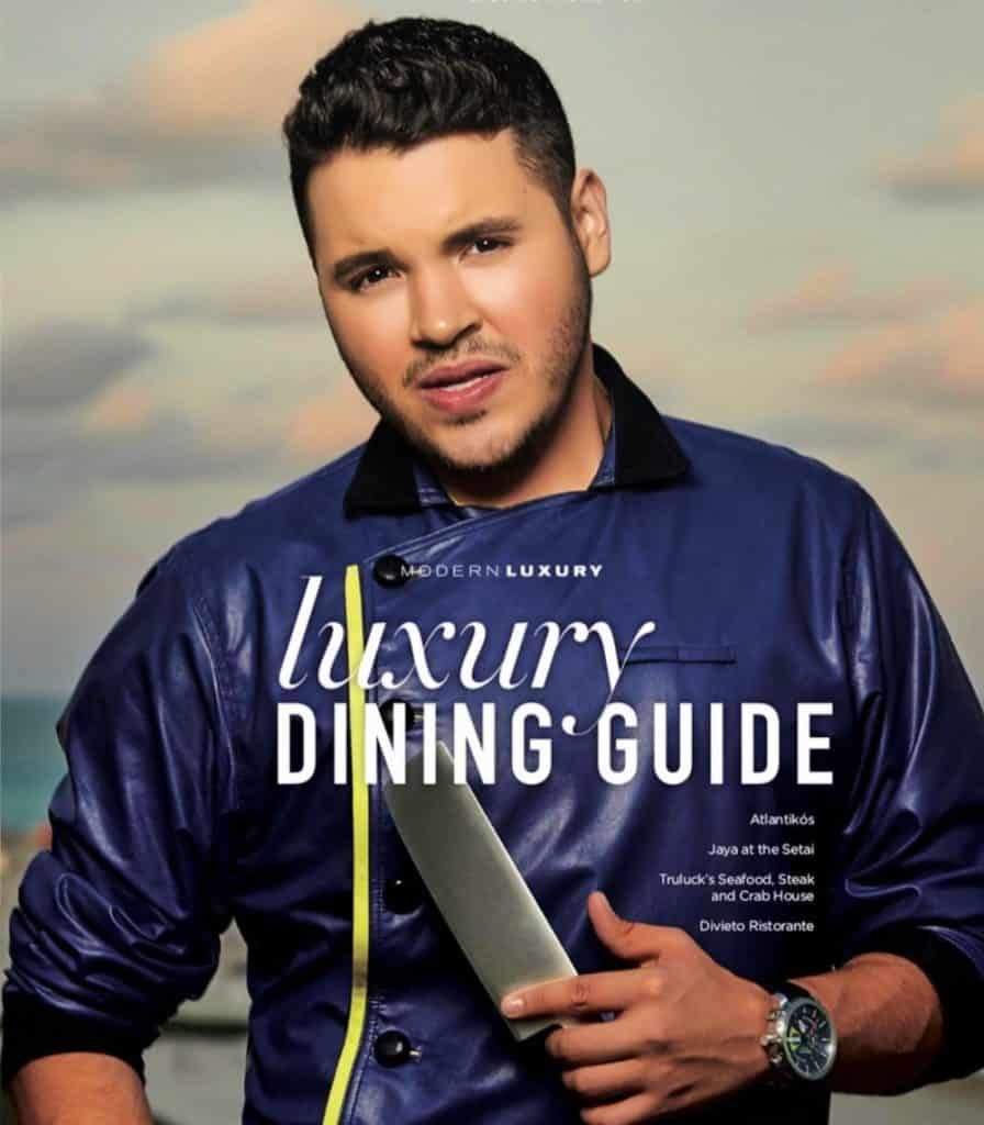 Celebrity Chef Chris Valdes on cover of Luxury Dining Guide