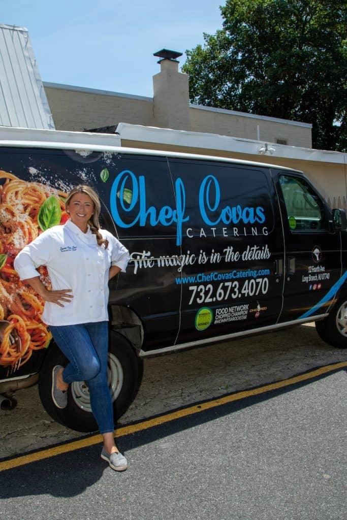 Lauren Van Liew by her Chef Covas Catering van