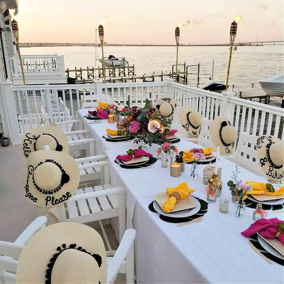 A Jersey shore party on deck catered by New Jersey Caterer Chef Lauren Van Liew