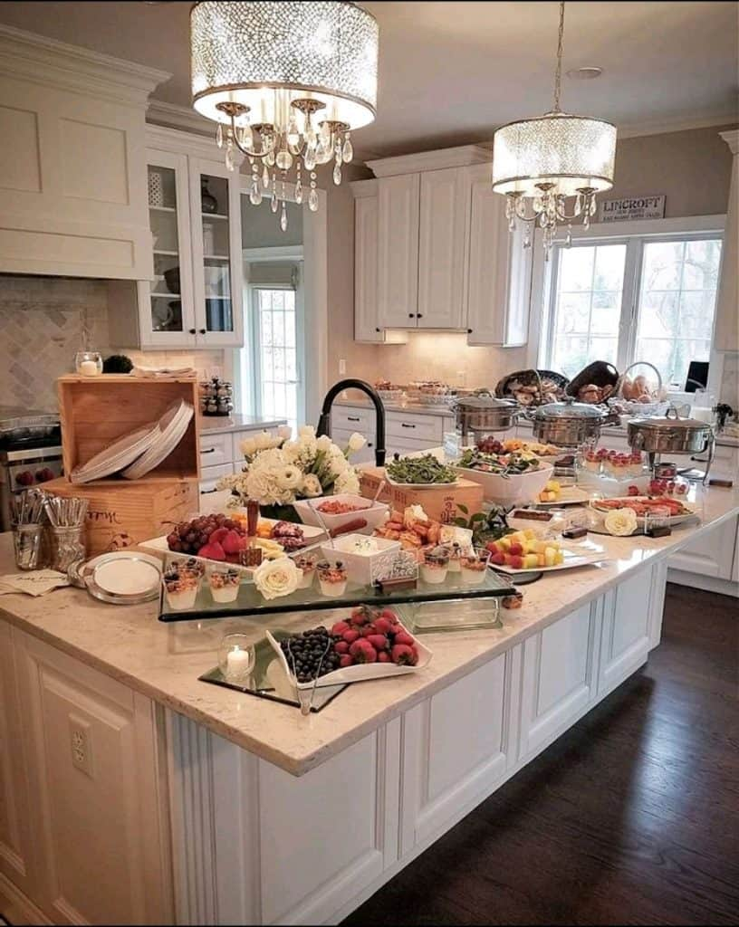A catering spread at a private party curated by New Jersey Caterer and Chef Lauren Van Liew