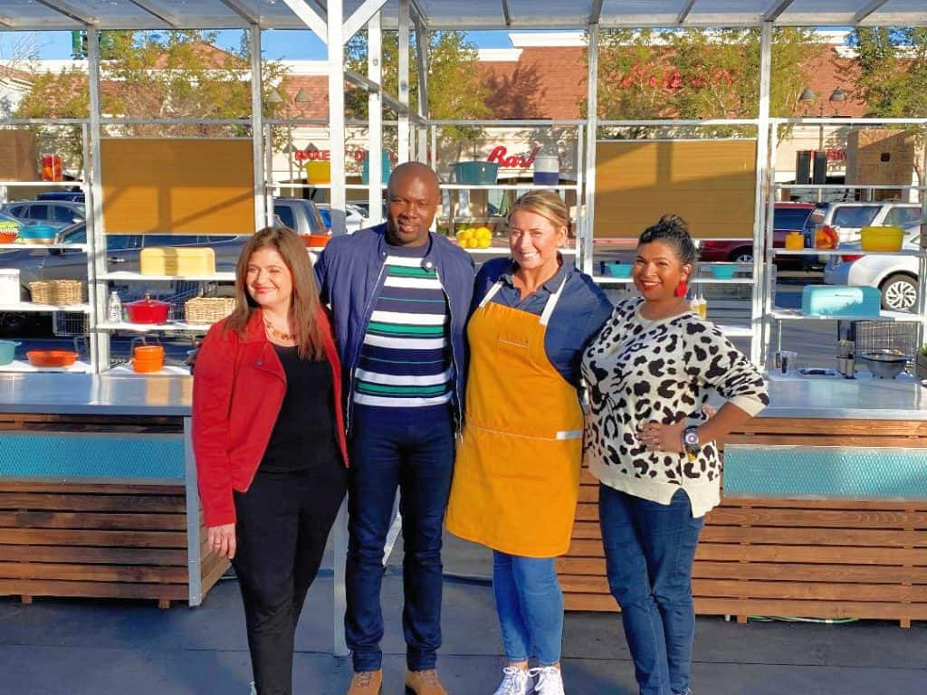 Chef Lauren Van Liew winner of Food Network Supermarket Stakeout with host Alex Guarnaschelli