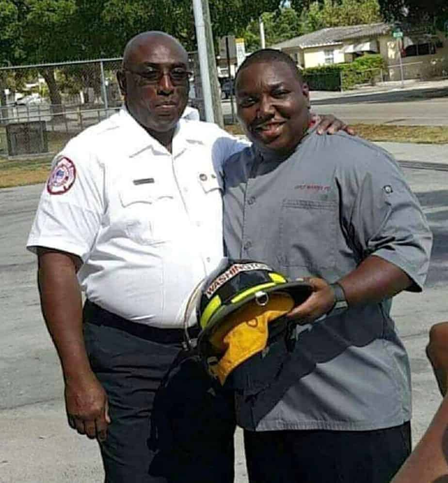 Chef Manny Washington pictured with his firehouse chief in Orlando, FL