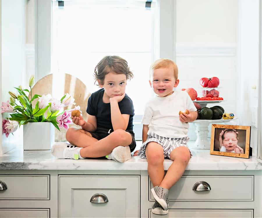 Erin's two young son's often join her in the kitchen for her cooking adventures.