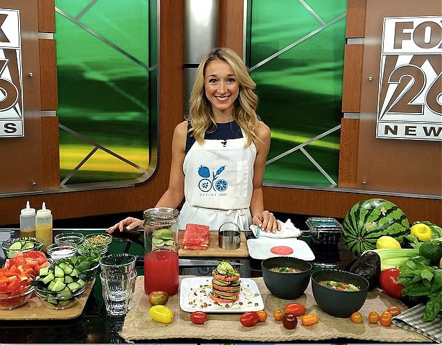 Erin Stewart on local Fox station showing viewers how to make her signature watermelon and cucumber tower