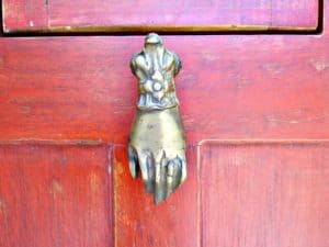 Unique vintage front door knocker at Casa Nova